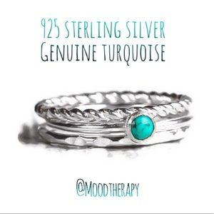 Real Turquoise 3 Ring Set in 925 Sterling Silver